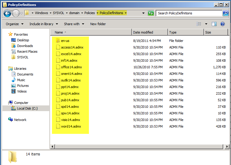 as shown below all of the office 2010 admx template files will now show up under administrative templates since it is retrieving